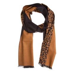 Seidenflanell Schal Halstuch Leopard schwarz braun 180x30 cm reine Seide