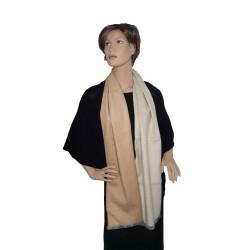 Seidenflanell Schal Halstuch beige camel 180x30 cm reine Seide