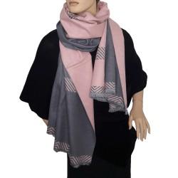 Seidenflanell Stola Halstuch Schal rosa grau 200x60 cm reine Seide