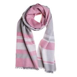 Seidenschal rosa grau gestreift 200x30cm Seidenflanell 100% Seide