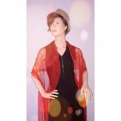 Festliche Stola Rot 100% reine Chiffon-Seide 230x55cm Damen Schultertuch