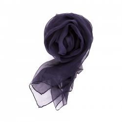 Seidenstola Chiffon 230x55 cm einfarbig unifarben dunkelblau marine navy reine Seide