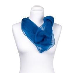 Seidenstola Chiffon Topas Blau 100% reine Seide 230x55cm Damen einfarbig