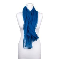 Seidenstola Chiffon Topas Blau 100% reine Seide 230x55cm Damen unifarben