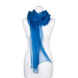 Seidenstola Chiffon Topas Blau 100% reine Seide 230x55cm einfarbig
