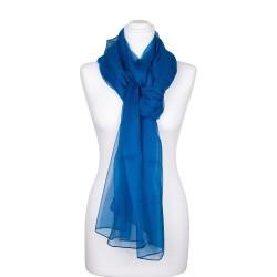 Seidenstola Chiffon Topas Blau 100% reine Seide 230x55cm uni