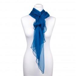 Seidenstola Chiffon Topas Blau 100% reine Seide 230x55cm Damen