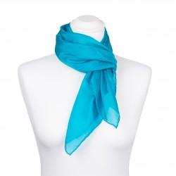 Seidentuch blau türkis 100% Seide 90x90cm Damen uni