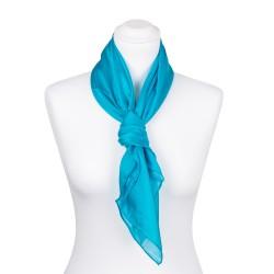 Seidentuch blau türkis 100% Seide 90x90cm Damen einfarbig