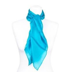 Seidentuch blau türkis 100% Seide 90x90cm uni einfarbig