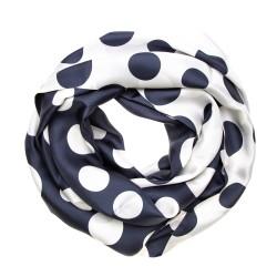 TINITEX Seidenschal Halstuch weiß blau gepunktet