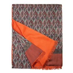 Eleganter Winterschal Seidenflanell Karo orange kupfer