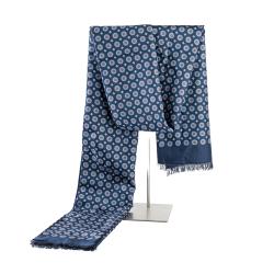 Eleganter Winterschal Seidenflanell blau