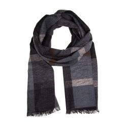 Schal Seidenflanell schwarz grau kariert