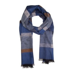 Schal Seidenflanell blau grau kariert