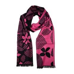 Eleganter Winterschal Seidenflanell Blumen schwarz pink