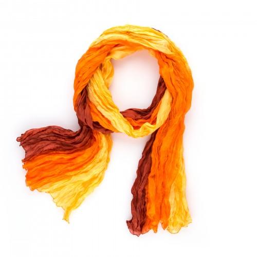 Seidenschal in Knitteroptik mit Farbverlauf gelb orange rot 180x90 cm Crinkle