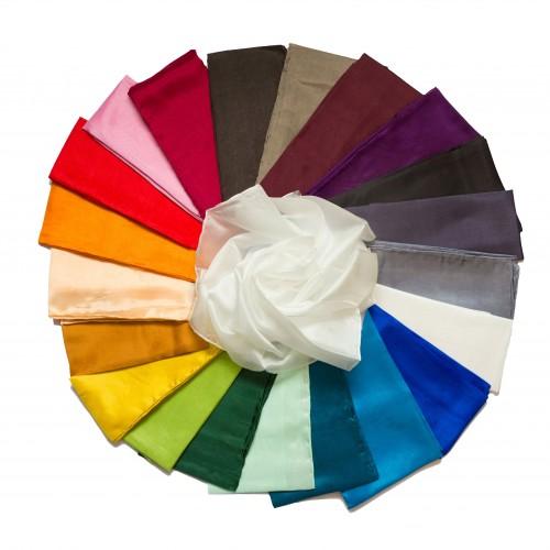 3er-Set Seidenschals verschiedene Farben 100% reine Seide 180x45cm einfarbig