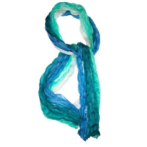 Knitterschal Farbverlauf blautürkis weiß 100% reine Seide