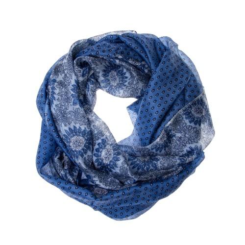 Seidenschal Halstuch Schal hellblau gepunktet