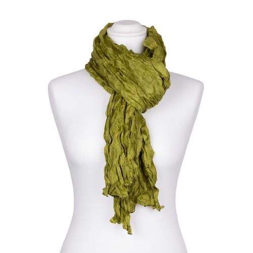 Knitterschal XXL grün olive olivgrün 100% Seide 180x90cm Damen