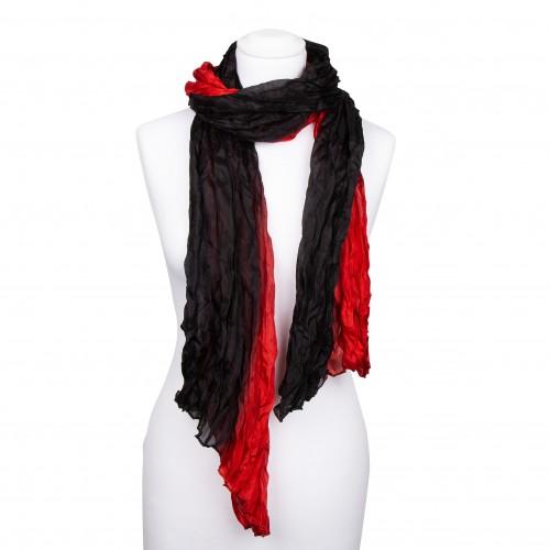 Seidenschal in Knitteroptik, rot, schwarz, 180x90cm, 100% reine Seide, Crinkle, mehrfarbig, Rottöne