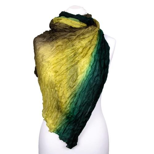 Knitterschal Halstuch Schal XXL Farbverlauf Grün-Olive