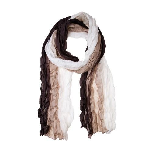 Knitterschal Halstuch Schal XXL Farbverlauf weiß-beige-braun