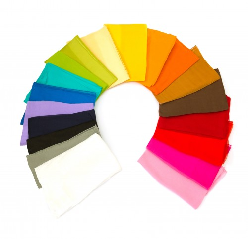 3er-Set Seidenschals Chiffon 100% reine Seide 230x55cm uni einfarbig