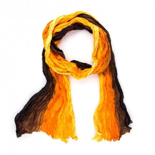 Knitterschal 180x90cm Sonnenuntergang gelb orange braun 100% reine Seide