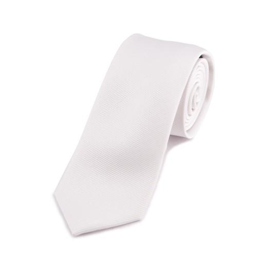 Seidenkrawatte weiss weiß reine Seide unifarben einfarbig 150x7,5cm