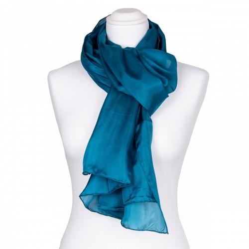 Seidenschal Halstuch Schal kurz Petrol 150x35 cm reine Seide einfarbig