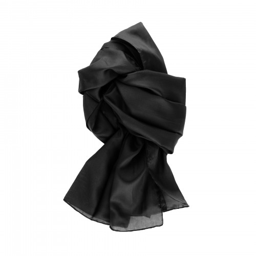 Seidenschal schwarz 100% reine Seide 180x45cm