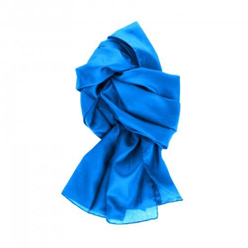 Seidenschal blau brillantblau 100% reine Seide 180x45cm
