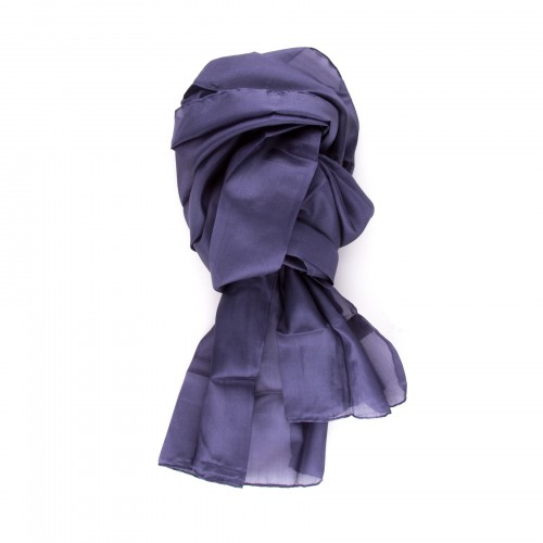 Seidenschal blau marineblau navy 100% reine Seide 150x35cm