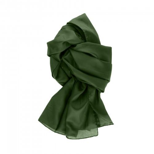 Seidenschal grün waldgrün dunkelgrün 100% reine Seide 180x45cm