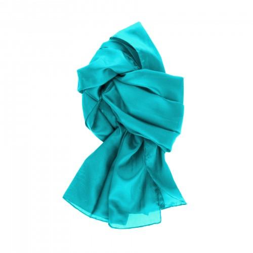 Seidenschal Lagune türkis blau 100% reine Seide 180x45cm