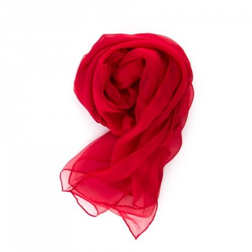 Festliche Stola Rot 100% reine Chiffon-Seide 230x55cm Damen unifarben
