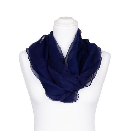 Chiffon-Seidenschal Nachtblau Marine 100% reine Seide 180x55cm Damen