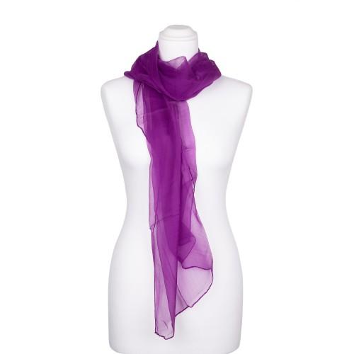 Seidenschal Chiffon Purpur-Violett 100% reine Seide 180x55cm