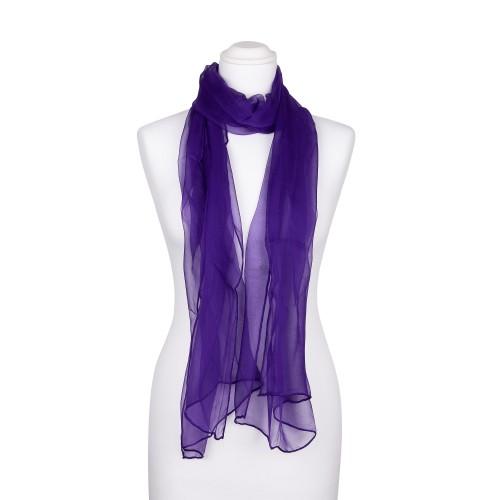 Seidenschal Chiffon violett dunkellila uni 100% reine Seide 180x55cm