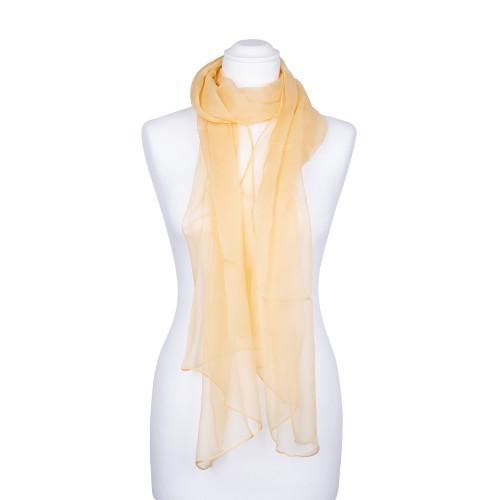 Seidenschal Chiffon sand gelb pastell hellbraun 100% reine Seide 180x55cm uni einfarbig