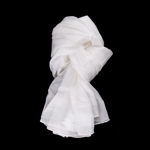 XXL Seidenschal weiß 180x90cm einfarbig
