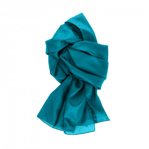 Seidenschal Halstuch Schal XXL Petrol 180x90 cm reine Seide einfarbig