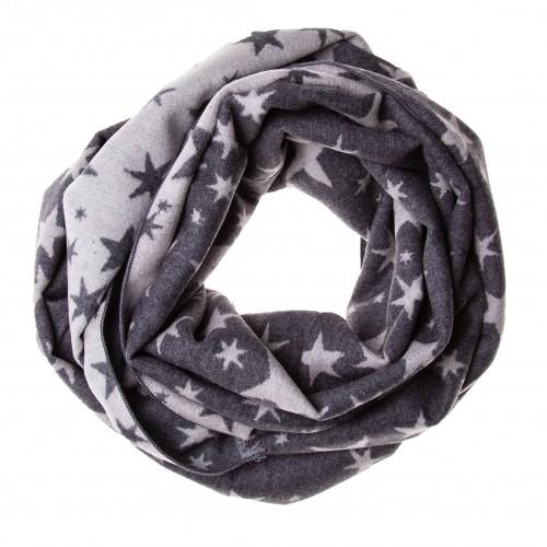 Seidenflanell Schal Halstuch Sterne grau weiß