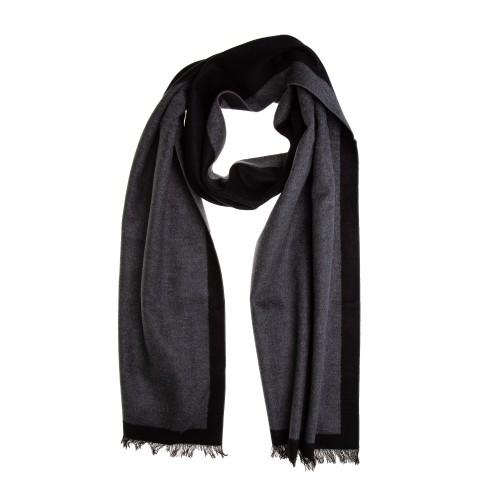 Seidenflanell Schal Halstuch grau anthrazit Spiegelrahmen 180x30 cm reine Seide