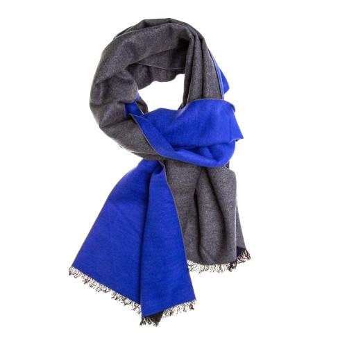 Seidenflanell Schal Halstuch grau blau 180x30 cm reine Seide