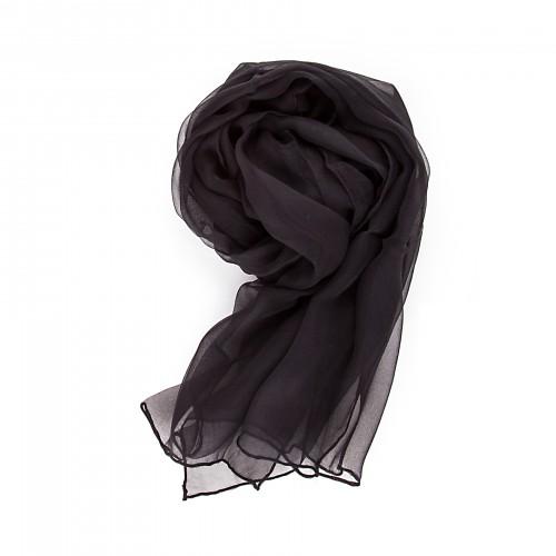 Seidenstola Chiffon 230x55 cm einfarbig unifarben schwarz reine Seide