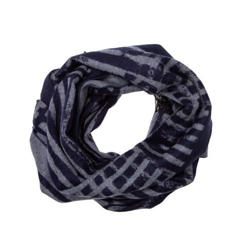 Winterschal Seidenflanell schwarz grau Streifenmuster