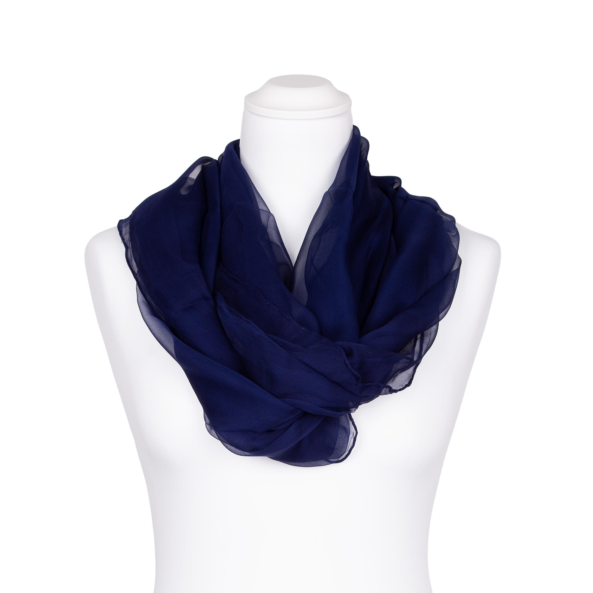 Chiffon-Seidenschal Halstuch Schal Nachtblau